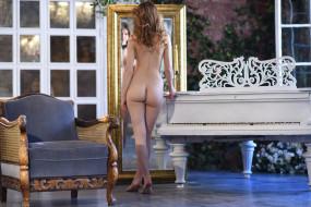 эротика, рыжеволосые, зеркало, плющ, пианино, двери, кресло, caramel