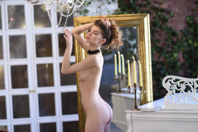 эротика, рыжеволосые, caramel, пианино, двери, плющ, свечи, зеркало