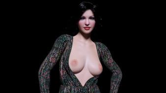 эро-графика, 3д-эротика, грудь, девушка, фон, взгляд