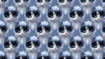 векторная графика, животные , animals, арт, кошка, снег, зима, apofiss, текстура