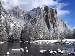2018, скала, водоем, снег, деревья