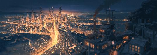 аниме, город,  улицы,  интерьер,  здания, pochi, poti1990
