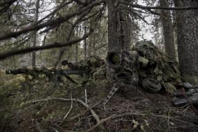 камуфляж, лес, винтовка, снайпер, напарник