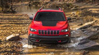 jeep cherokee trailhawk 2019, автомобили, jeep, red, 2019, trailhawk, cherokee