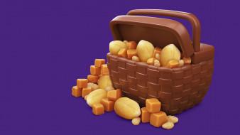 AJ Jefferies, еда, шоколад, орешки, 3D, Cadbury Dairy Milk Icons, ириска, вкусняшки, орех