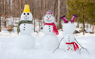 праздник, лес, снег, снеговики, зима
