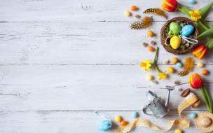 цветы, яйца крашеные, eggs, spring, wood, decoration, flowers, Easter, Пасха, весна, нарциссы, тюльпаны, colorful, Happy, tulips
