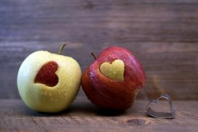 капли, дуэт, сердечки, яблоки