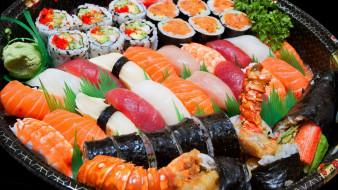 обои для рабочего стола 3712x2088 еда, рыба,  морепродукты,  суши,  роллы, ассорти, васаби, суши, японская, кухня, роллы