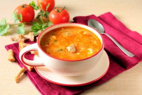 мясной, суп, помидоры, сухари