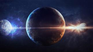 космос, арт, притяжение, спутники, планета