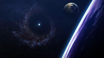 космос, арт, туманность, галактика, пространство, звезды, планеты