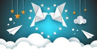 рендеринг, птицы, облака, звезды