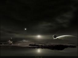 корабль, камни, озера, планеты, поверхность, небо