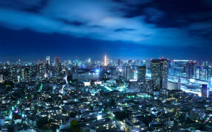 огни, город, Япония, Токио, небо, ночь