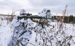 оружие, армия, спецназ, снайпер, камуфляж, зима, снег