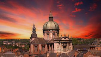 закат, церковь, купол, небо