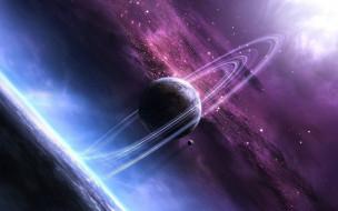 космос, арт, галактика, туманность, звёзды, вселенная, планеты, сатурн, пространство, свет