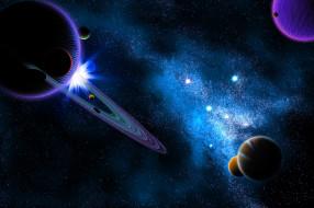 космос, арт, звёзды, вселенная, планеты, сатурн, пространство, свет, галактика, туманность