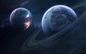 космос, арт, планеты, сатурн, свет, пространство, вселенная, звёзды, туманность, галактика