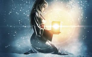 девушка, фонарь, свет