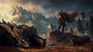 фэнтези, драконы, фон, дракон, меч, мужчина