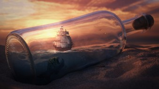 фэнтези, корабли, бутылка, кораблик