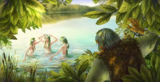фон, девушки, река, существо