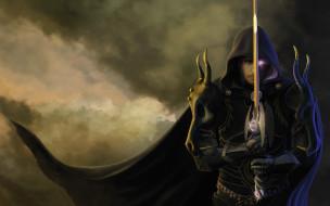 существо, плащ, мужчина, фон, меч, взгляд