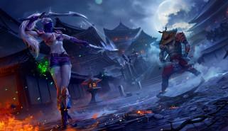 существо, фон, девушка, меч, маска, город