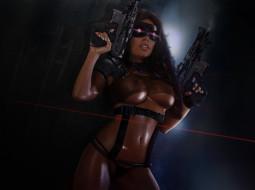 маска, оружие, девушка, фон