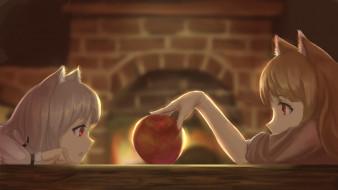 аниме, spice and wolf, яблоко, девочки