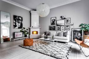 гостиная, стиль, Roslagsgatan Apartment, дизайн, интерьер, камин