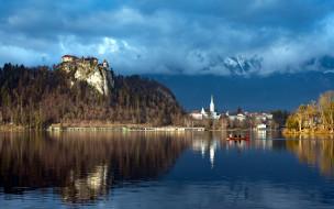 города, блед , словения, остров, облака, озеро