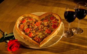 сердце, вино, бокалы, пицца, роза