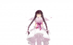 крылья, букет, девочка, косы, платье