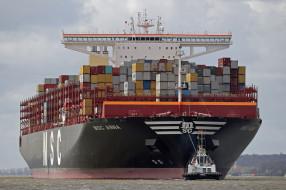 корабли, грузовые суда, контейнеровоз