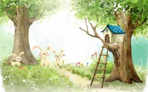 рисованное, животные, домик, деревья, зайцы, лестница