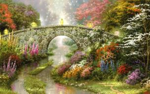 мост, фонари, природа, деревья, ручей, цветы