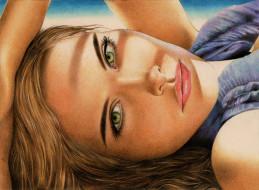 фон, взгляд, девушка, портрет