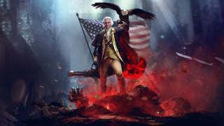 фон, орел, оружие, флаг, мужчина