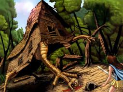 фэнтези, существа, лес, нападение, ноги, сказка, дом, курьи, избушка
