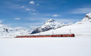 железная дорога, состав, зима, поезд, снег
