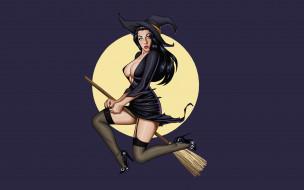 летит, луна, метла, удивление, Ведьма, колдунья