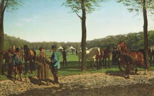 картина, холст, животные, масло, Рынок Лошадей в Гааге, Корнелис Альбертус Йоханнес Шермер