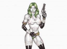 девушка, револьвер, фон, взгляд