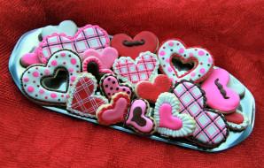 сердечки, печенье, ассорти