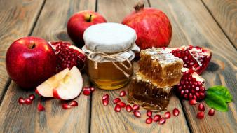 мед, соты, яблоко, гранат