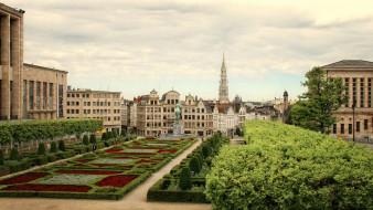 города, брюссель , бельгия, клумбы, памятник, сквер