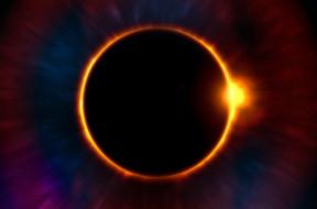 сумерки, луна, затмение, солнце, цифровая вселенная